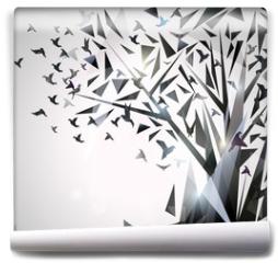 Fototapeta - Abstract Tree with origami birds.