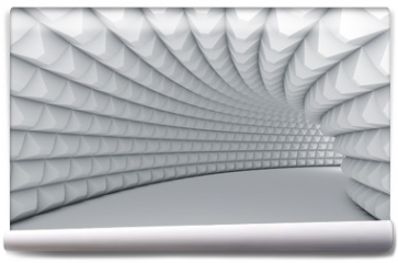 Fototapeta - Abstract white tunnel with pyramid textured walls.