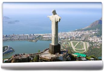 Fototapeta - Aerial view of Christ the Redeemer Monument and Rio De Janeiro