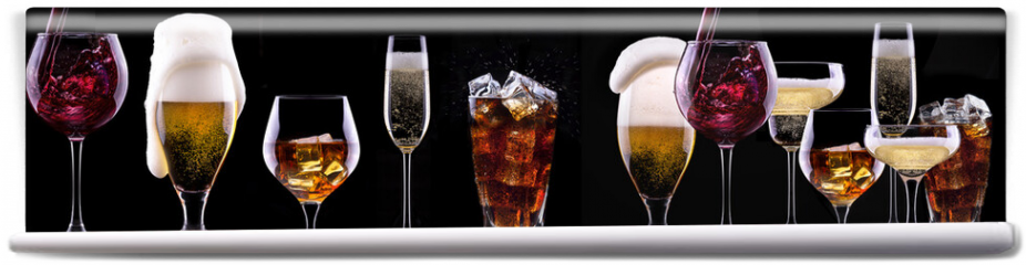 Fototapeta - alcohol drinks set isolated on a black