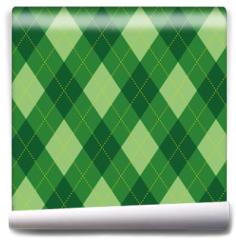 Fototapeta - Argyle pattern green rhombus seamless texture, illustration