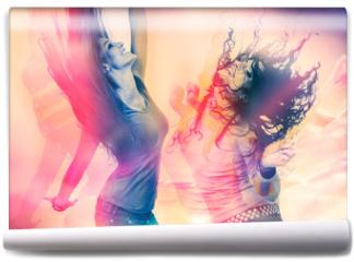 Fototapeta - arty picture of dancing girls / disco disco 07