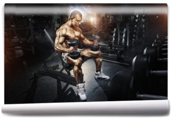 Fototapeta - Athlete in the gym training with dumbbells