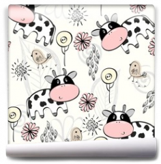 Fototapeta - babies hand draw seamless pattern with cows