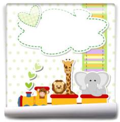 Fototapeta - baby shower - train - trenino con animali