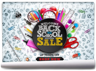 Fototapeta - Back to School Sale Design with Colorful Pencil, Alarm Clock and other School items on Hand Drawn Doodles background. Vector School Illustration with Typography for Coupon, Voucher, Banner, Flyer