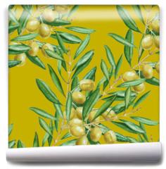 Fototapeta - Background olive branch. seamless pattern. watercolor illustrati
