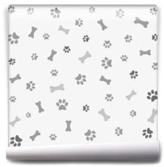Fototapeta - Background with dog paw print and bone