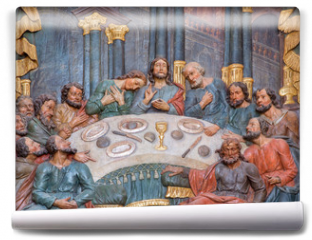 Fototapeta - Banska Stiavnica - carved relief of Last supper in Calvary