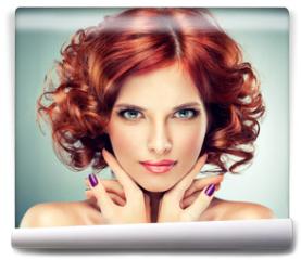 Fototapeta - Beautiful model red with curly hair