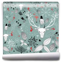 Fototapeta - beautiful texture with portraits of deer