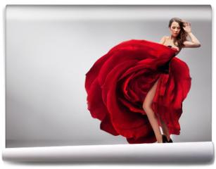 Fototapeta - Beautiful young lady wearing red rose dress