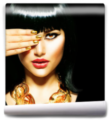 Fototapeta - Beauty Brunette Egyptian Woman.Golden Accessories