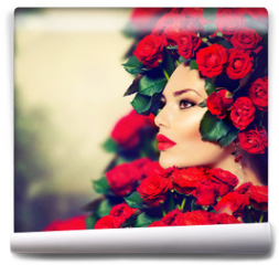 Fototapeta - Beauty Fashion Model Girl Portrait with Red Roses Hairstyle