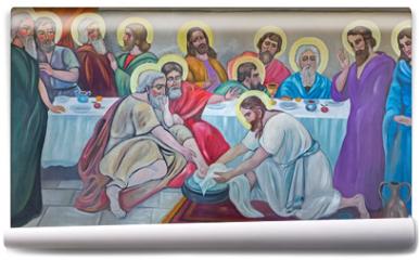 Fototapeta - Bethlehem - fresco of Feet washing at the last supper