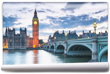 Fototapeta - Big Ben and the Houses of Parliament at night in London, UK