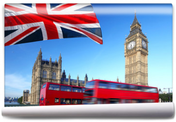 Fototapeta - Big Ben with city bus and flag of England, London