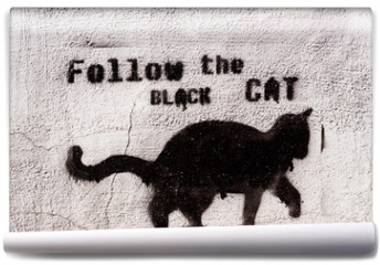 Fototapeta - black cat graffiti