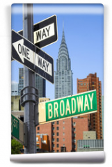 Fototapeta - Broadway sign in front of New York City skyline