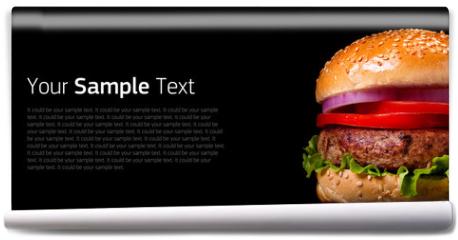 Fototapeta - Burger on black background