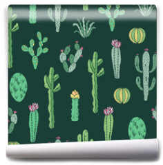 Fototapeta - Cactus seamless pattern. Vector background with cactus and succulents