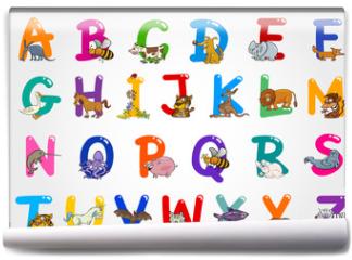 Fototapeta - Cartoon Alphabet with Animals Illustrations
