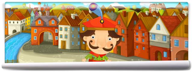Fototapeta - Cartoon scene - noble man in the old town - illustration for the children