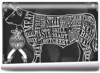 Fototapeta - Chalk Charcoal Crayon Hand Drawing Vector Butchery Blackboard Butcher Shop Store Signage Set Antique Food Typography Meat Cut Scheme. Vintage Beef Drawn Chalkboard Grill Black Board Calligraphic Text