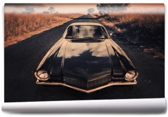 Fototapeta - classic sports car on the countryside road