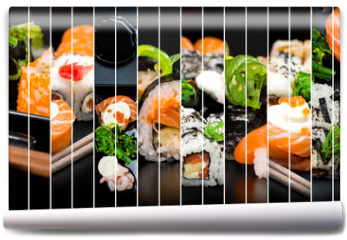 Fototapeta - collage of photos of sushi