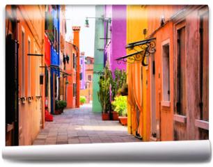 Fototapeta - Colorful street in Burano, near Venice, Italy