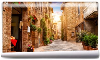 Fototapeta - Colorful street in Pienza, Tuscany, Italy