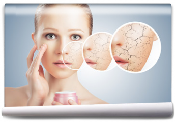 Fototapeta - concept of cosmetic skin care.  face of young woman with dry ski