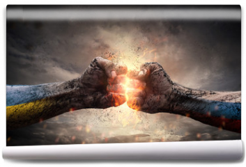 Fototapeta - Conflict, close up of two fists hitting each other
