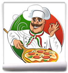 Fototapeta - Cook pizza. Vector illustration isolated on a white background