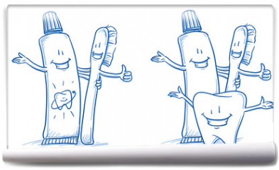 Fototapeta - Cute happy cartoon toothbrush and toothpaste with and without happy tooth. Hand drawn line art cartoon vector illustration.