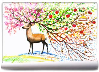 Fototapeta - Deer-four seasons.