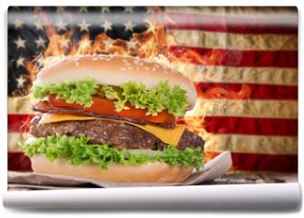 Fototapeta - Delicious hamburger with fire flames