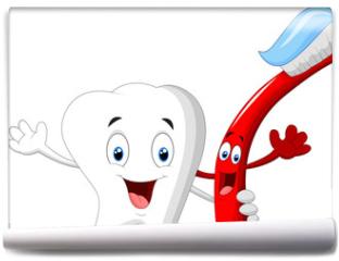Fototapeta - Dental Tooth and Toothbrush cartoon character