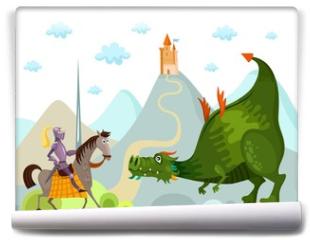 Fototapeta - dragon and knight