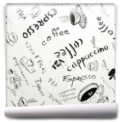 Fototapeta - Drawing ink sketch of coffee (square)