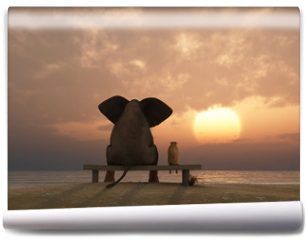 Fototapeta - elephant and dog sit on a summer beach