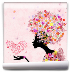 Fototapeta - fashion flowers girl with a heart of butterflies