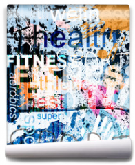 Fototapeta - FITNESS. Word Grunge collage on background.