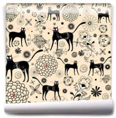 Fototapeta - Flower texture with cats