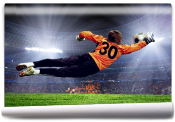 Fototapeta - Football goalman on the stadium field