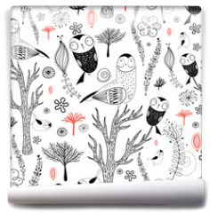 Fototapeta - forest pattern with owls