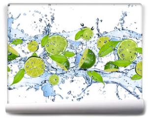 Fototapeta - Fresh limes in water splash,isolated on white background