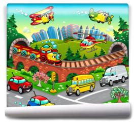 Fototapeta - Funny vehicles in the city. Cartoon and vector illustration.