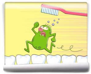 Fototapeta - germ running away from a tooth brush